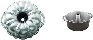 Nordic Ware Platinum Collection Anniversary Bundt Pan & Ware Angel Food Cake Pan, 18 Cup Capacity, Graphite