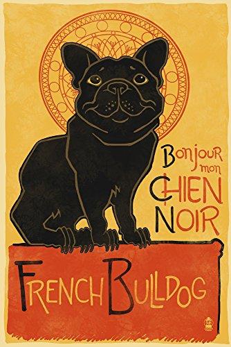 French Ad Poster - French Bulldog - Retro Chien Noir Ad (9x12 Art Print, Wall Decor Travel Poster)