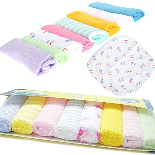 Cren 8pcs Newborn Baby Soft Cotton Bath Towels Handkerchiefs Bandana Drool Bibs Washcloth Bathing Feeding Wipe Cloth, 22cm×22cm/8.66inch8.66inch