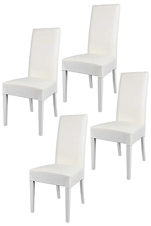 Tommychairs sillas de Design - Set de 4 sillas Luisa para Cocina, Bar y Restaurante, con Estructura en Madera de Haya y Asiento tapizado en Polipiel Blanco: ...
