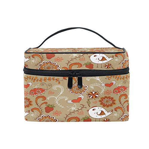 Travel Cosmetic Bag Bird Chick Flower Strawberry Toiletry Makeup Bag Pouch Tote Case Organizer Storage For Women Girls