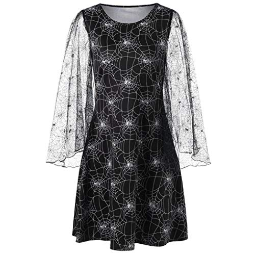 Women Long Sleeves Mini Dresses AmyDong Cobweb Print Yarn Halloween Party Skirt(L,Black ) -
