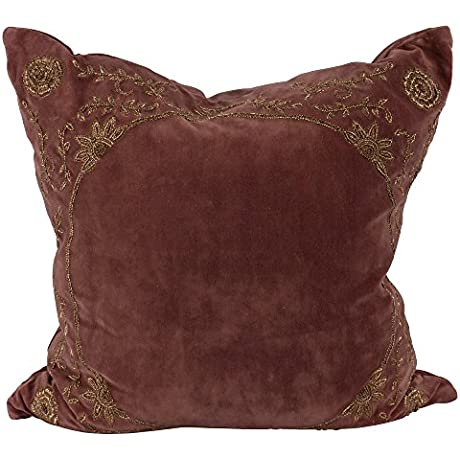 Luella Regency Gold Floral Warm Nutmeg Velvet Pillow 24x24