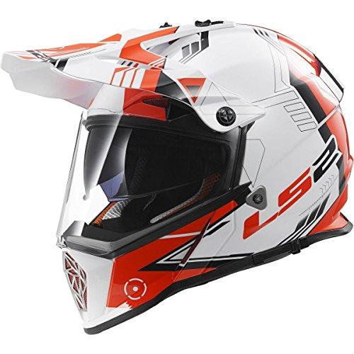 (LS2 Helmets Pioneer Trigger Adventure Off Road Motorcycle Helmet with Sunshield (Red, Large))
