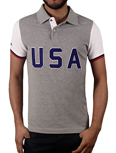 Block Pique (U.S. Polo Assn. Men's Short Sleeve Color Block Slim Fit Pique Shirt, Heather Grey,)