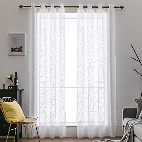 MIULEE 2 Panels Embroidered Sheer Window Cluttered Lines Design Grommet Curtains Window Voile Panels/Drape/Treatment for Bedroom Living Room (54X84 Inch -