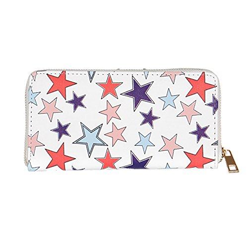 Wallets for Women, Expandable Zipper Clutch, Wrist Purse, Star print wallet
