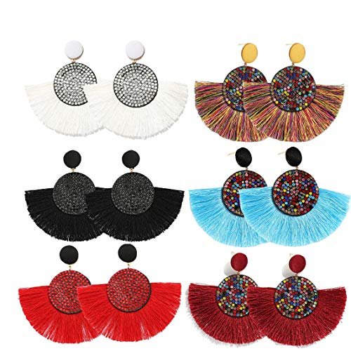 COMMINY 6 Pairs Colorful Statement Tassel Earrings,Handmade Bohemian Hanging Fringe Dangle Earrings for Women Girls ... ()