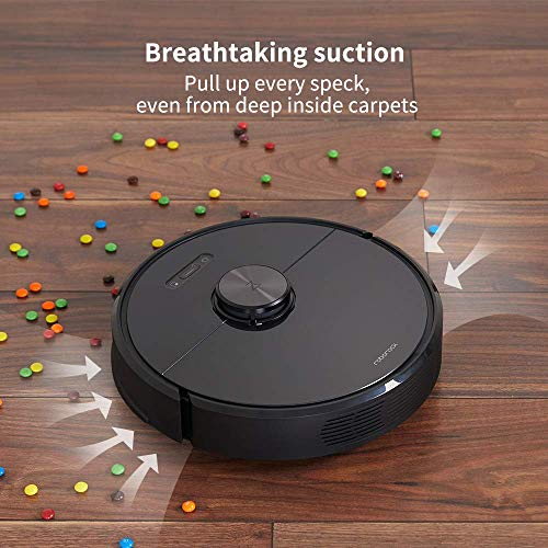 roborock S6, Robotic Vacuum Cleaner and Mop with Adaptive Routing, Selective Room Cleaning, Super Strong Suction, and Extra Long Battery Life, APP & Alexa Voice Control, Black