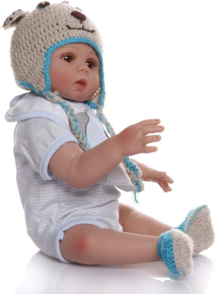 Anano Full Body Silicone Vinyl Reborn Baby Doll Boy 18 Inches 48 cm Real Looking Newborn Baby Boy Blue Stripped Outfit Waterproof Anatomically Correct for Kids 3+