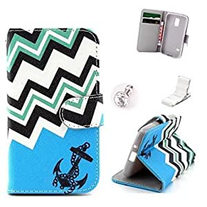SHOUJIKE Blue Anchor Pattern PU Leather Case and Mini Display Stand with Diamond Dust Plug for Samsung Galaxy S5 Mini