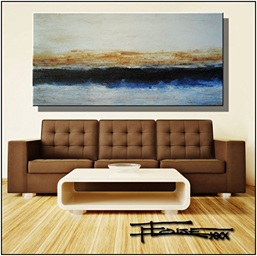 Eloise World Studio - ELOISExxx Abstract, Canvas Oil Painting, Wall Art, Limited Edition Giclee -MIDLINE 60x30x1.5inch, Framed, Direct from US artist