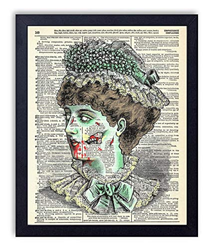 Victorian Zombie Lady Vintage Wall Art Upcycled Dictionary Art Print Poster 8x10 inches, Unframed