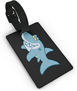 Travel Luggage Tag Shark Cartoon - Free Clipart PVC Baggage Suitcase Tag Name Address ID Label
