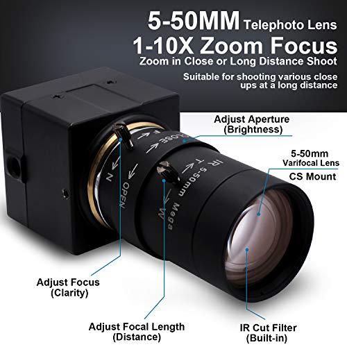 SVPRO USB Web Camera 1080P 5-50mm Manual Zoom Lens HD USB Camera 30fps with CMOS OV2710 Sensor 720P 60fps / 480P 100fps Computer USB Camera Support OTG, 2MP USB Webcam Drive-Free