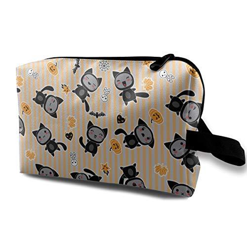 Halloween Cartoon Cat Women Cosmetic Bag Durable Makeup