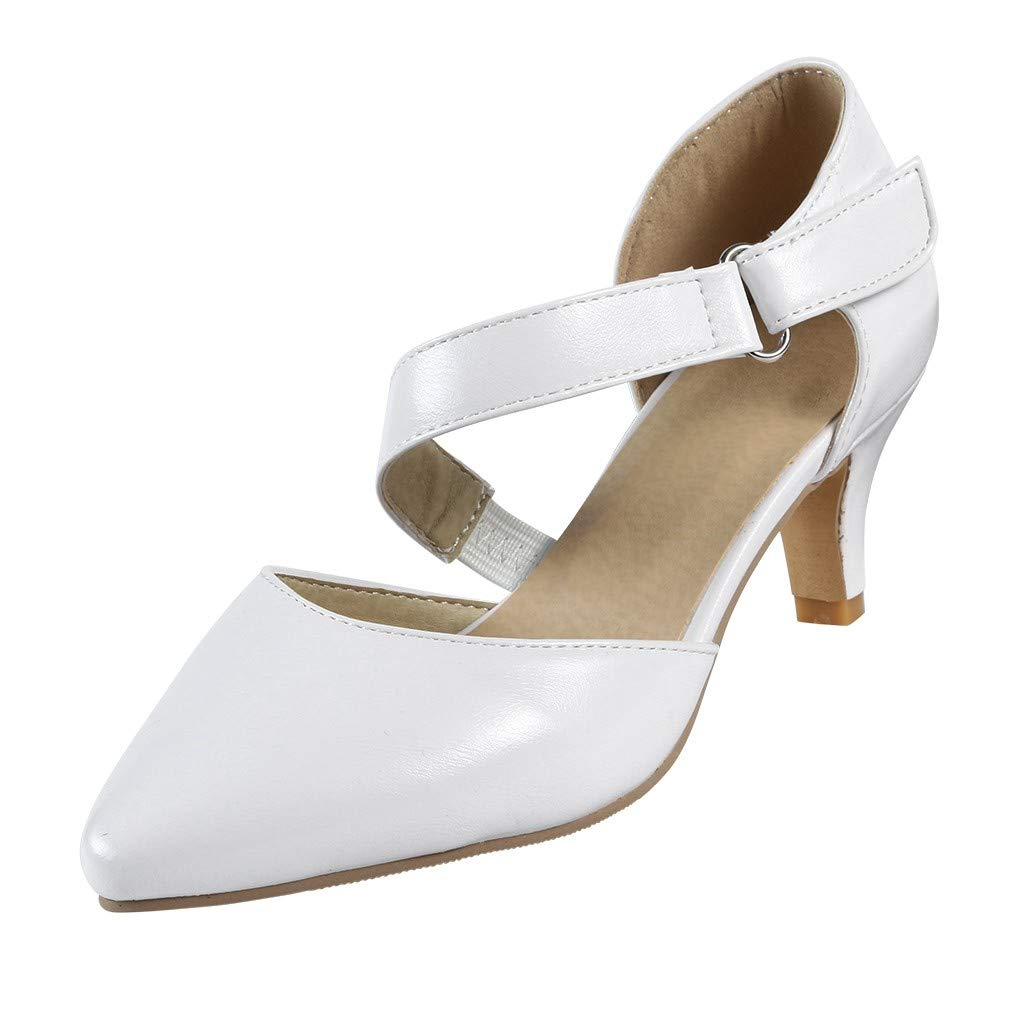 Sharemen Womens Classic Low Mid Heels Shoes- Pointed, Closed Toe Low, Kitten Heel Pumps(White,US: 8.5)