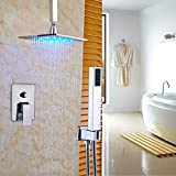Ceiling Mounted Shower Head Set Rozin Bathroom 2-way Control Ceiling Mounted LED Light 12