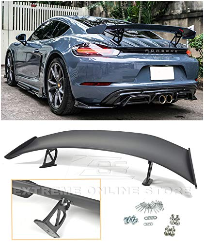 Extreme Online Store for 2017-Present Porsche 718 Boxster & Cayman | GT4 Style ABS Plastic Primer Black Rear Trunk Wing Spoiler