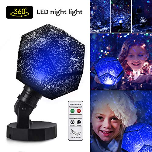 Star Lighting Lamp, 5 LED Beads Romantic Constellation Lamp Relaxing 360 Degree Mood Light Sleeping Aid Ceiling Projector Sleep Night Light Lamp with USB Cables