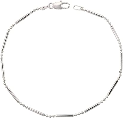 ITALY Sterling Silver Multi Layered BALL and BAR Chain Bracelet-Bead Bracelet