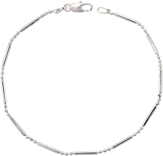 Sterling Silver Bead Bar Ball Chain Anklet Italy 9.5