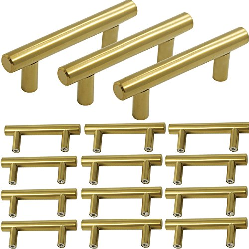 Probrico Brushed Brass Modern Bathroom Drawer Handle Kitchen Cupboard T Bar Knobs Dresser Gold Bar Pulls Set - 2-1/2 Inch Hole Centers - 15 Pack