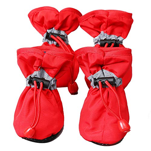 ROTANET Dog Shoes - Indoor Dog Boots,Pet Boots,Outdoor Dog Shoes with Two Adjustable Fastening Straps and Soft Anti-Slip Sole. Dog Boots Perfect for Small Dogs (4 Red)