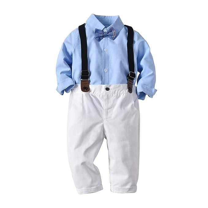 Backbuy 3 PCs Ropa Traje Bebés Niño Camiseta Bowtie Traje ...