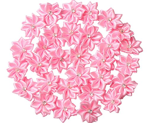 YAKA 60pcs Pink Satin Ribbon Flowers Bows Rose w/Rhinestone Appliques Craft Wedding Ornament (Lovely Pink Bow)