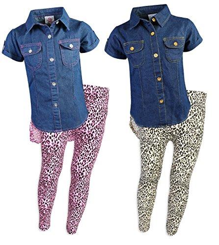 Cotton Leopard Legging Set (Real Love Little Girls 4-Piece Denim Top and Legging Set, Leopard, Size 2T')