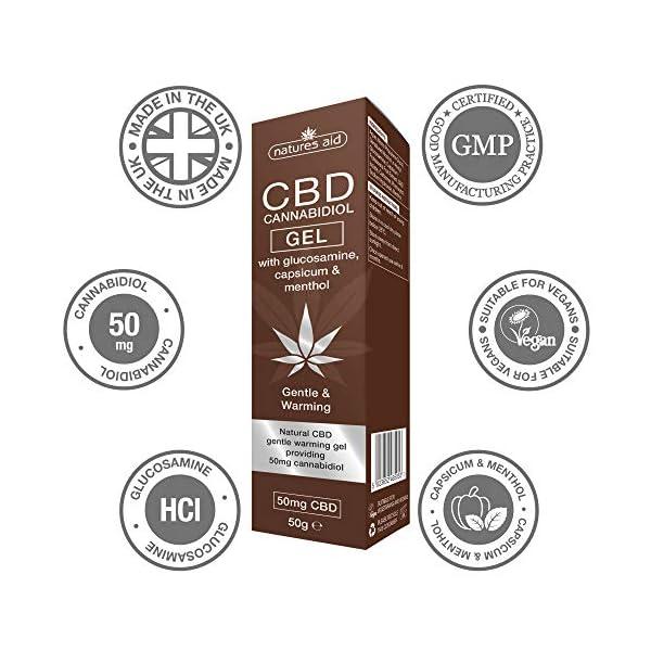 Natures Aid CBD Gel with Glucosamine Capsicum Menthol, 50 gram