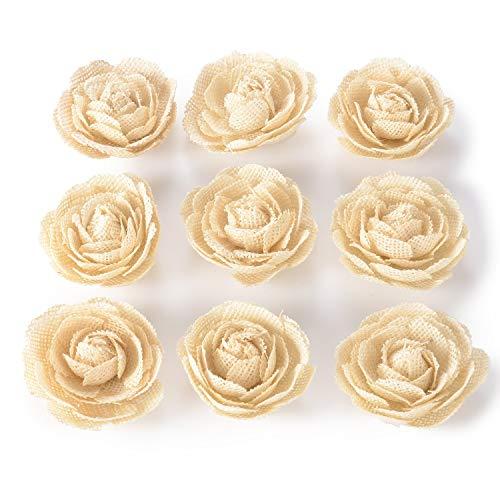 Junxia Natural Burlap Flowers Ivory Color for Wedding Party Decoration (6 cm)