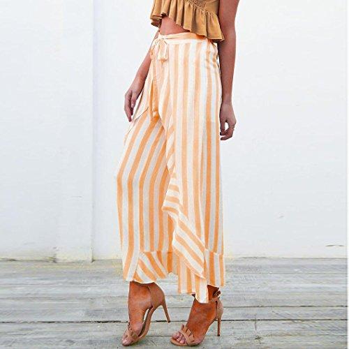 2018 Palazzo Pants,Women Stripe Ruffle Bottom Sash High Waist Wide Leg Beach Trousers by-NEWONSUN by NEWONESUN-Pant (Image #3)