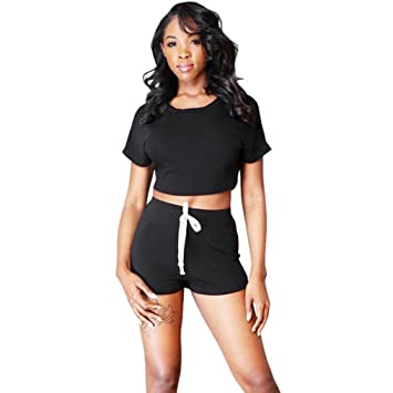 btruely Sport Ropa Mujer Verano Crop Top + pantalones cortos ...