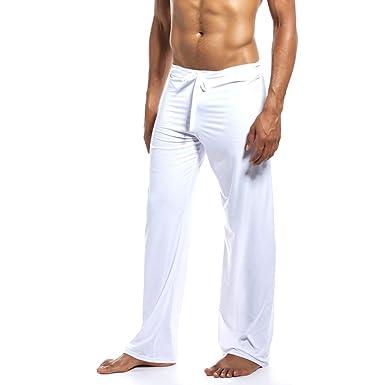Firally Pantaloni da Yoga per la Casa di Colore Solido di Moda Maschile da Uomo Calzamaglie e Leggings Sportivi Yoga Fitness Pants Casual Pantaloni