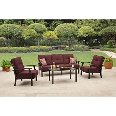 "Better Homes and Garden Carter Hills Outdoor Conversation Set, Seats 5 - Red - The Carter Hills conversation set includes a sofa, two lounge chairs with the comfortable cushions and two co-ordinating toss pillows and a slat-topped coffee table. Chair dimensions: 31.5"" L x 32.5""W x 33.5""H ; Sofa dimensions: 31.5"" L x 77.5""W x 33.5""H ; Coffee Table dimensions: 40""L x 22""W x 19""H uilt with sturdy steel and aluminum for durability. - patio-furniture, patio, conversation-sets - 5198V5Am3BL. SS400  -"