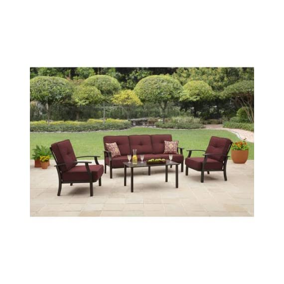 "Better Homes and Garden Carter Hills Outdoor Conversation Set, Seats 5 - Red - The Carter Hills conversation set includes a sofa, two lounge chairs with the comfortable cushions and two co-ordinating toss pillows and a slat-topped coffee table. Chair dimensions: 31.5"" L x 32.5""W x 33.5""H ; Sofa dimensions: 31.5"" L x 77.5""W x 33.5""H ; Coffee Table dimensions: 40""L x 22""W x 19""H uilt with sturdy steel and aluminum for durability. - patio-furniture, patio, conversation-sets - 5198V5Am3BL. SS570  -"