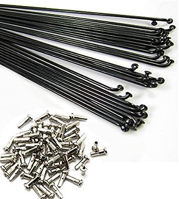 Bike Bicycle Steel Black Spoke Spokes With Nipples 177mm-273mm