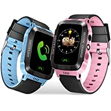 Kids SmartWatch with Camera Lingxin LBS Tracker for Boys Girls Touch Screen Anti-lost Alarm SOS Clock Cell Phone Call Wearable Bracelet Compatible with Android Samsung IOS Iphone 7 Plus 6S