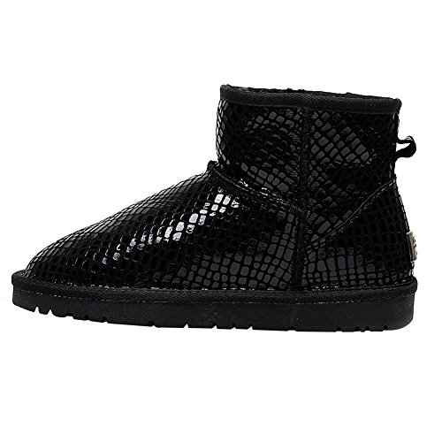 Ankle Lined US8 Girls Fashion Paillette Glittery S1056 Boots rismart Snow Fur Black Womens Warm Winter Boots RBxYa4Hq