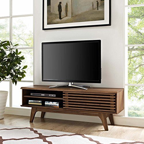 Modway Render Mid-Century Modern Low Profile 48 Inch TV Stand in Walnut - Modern Tv Cabinets