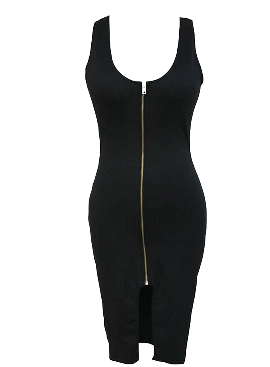 MLG Women's Sexy Sleeveless Full-Zip Low-out Bodycon Mid Dress