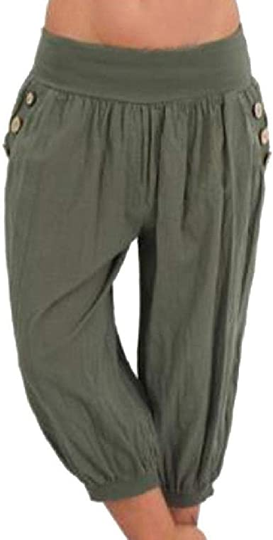 Femmes taille élastique Capris Pantalon raccourci Sarouel Leggings Casual Fashion