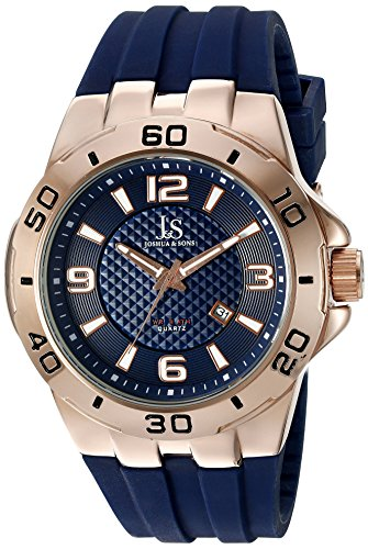 Joshua & Sons Men's JX115RGBU Rose Gold Quartz Watch With Blue Dial and Blue Silicone Strap