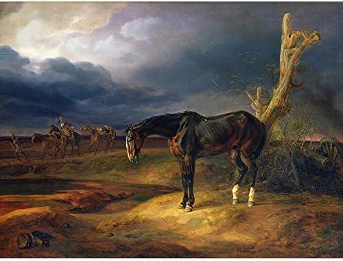 PAINTING MILITARY LANDSCAPE ADAM STRAY HORSE BATTLE MOSHAISK PRINT POSTER LF662