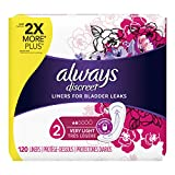 Always Discreet, Incontinence Liners for Women, Very Light, Regular Length, 120 Count