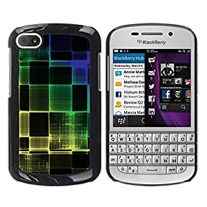 LECELL -- Funda protectora / Cubierta / Piel For BlackBerry Q10 -- Colorful Squared --