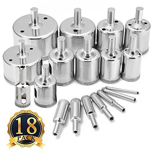 Glass Tile Hole Saw Bits Set, Diamond Hole Saw Drill Bits Extractor Remover Tools Hole Saws for Glass, Porcelain, Ceramic, Granite Light Stone Hollow Core Drill Bits Pack of 18,Sizes 4-50mm