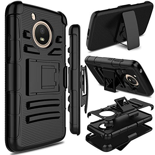 Motorola Moto E4 Case, Moto E 4th Generation Case, Zenic Full-body Heavy Duty Shockproof Protective Hybrid Case Cover with Swivel Belt Clip and Kickstand for Moto E4 / G5 (Black)